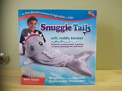 AS SEEN ON TV Snuggie Tails Blanket For Kids Gray Shark ~ FREE SHIPPING!
