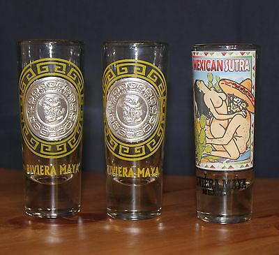 3 Riviera Maya Mexico Shot Glasses