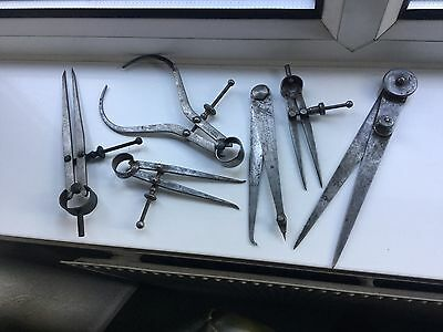 6 MOORE AND WRIGHT & OTHERS VINTAGE CALIPERS / ADJUSTABLE a& SCRIBERS