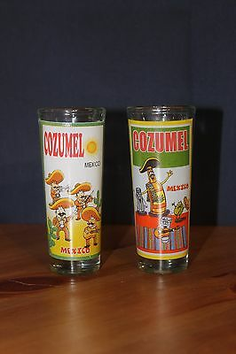 2 Cozumel Mexico Shot Glasses