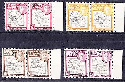 Falkland KGV1 map stamp pairs all showing variety enlarged south Georgia MNH