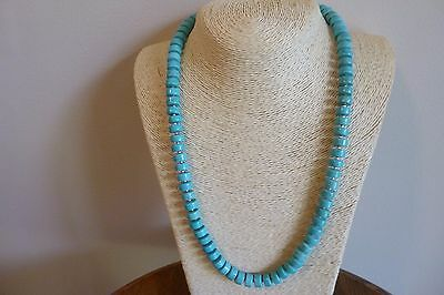 Turquoise Heishi Bead And Silver Native American Navajo Style Necklace