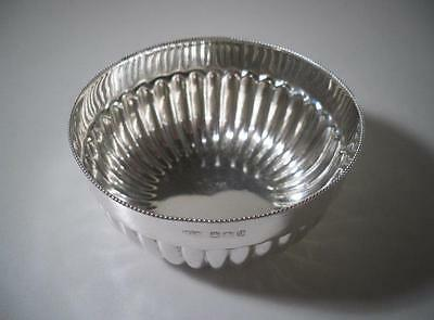 An Antique 'Mappin & Webb' Silver Fluted Bowl With Beaded Trim : Sheffield 1899