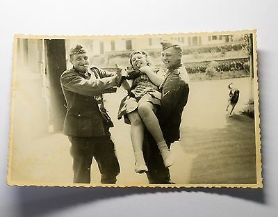 German soldiers and prostitute USSR WW2 photo 1940s