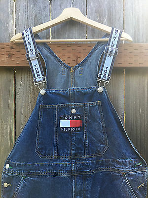 Vintage Tommy Hilfiger Denim Overalls Size Large. Spell Out Big Logo Flag