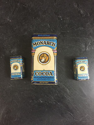 Three Vintage  Monarch  Cocoa Tin Cans
