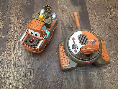 Fisher Price Geotrax Disney Cars 2 Mater Tow Truck Remote Control Toy WORKS RARE