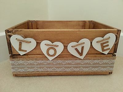 Wooden Crate / Box - Wedding / Home Decor - Rustic / Vintage - Hessian / Hearts