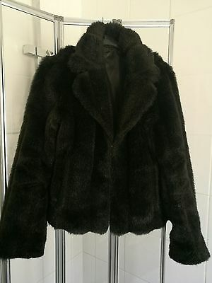 vintage sumptuos  faux fur coat jacket dark brown size 12 GREAT CONDITION