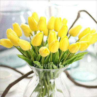 10pcs Yellow Real Touch Artificial Tulip Flower Bouquet Party Home Floral Decor