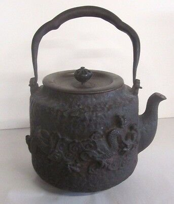 Antique Japanese Signed Tetsubin Chagama Iron / Bronze Kettle Dragons/mt. Fuji