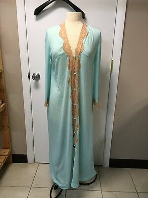 Vintage EMILIO PUCCI  LONG NYLON & LACE NIGHTGOWN, Blue Ivory SZ M