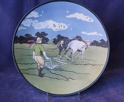 Antique Hand Painted Nippon Plate - Stylized Farmer with Plow - Wreath Mark
