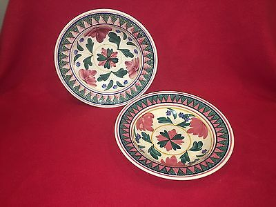 Antique Stick Spatter Style Large Bowl Belgium Ca. 1900 Red Border Floral Pair
