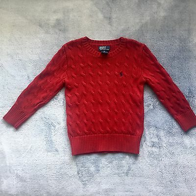 Ralph Lauren Polo Boys Toddler Kids Cable-Knit Cotton Sweater Red Size 5T