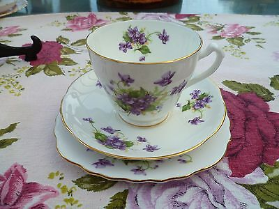 Lovely Vintage Floral English China Trio Tea Cup Saucer Plate Violets