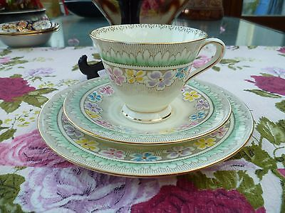 Pretty Vintage Plant Tuscan English China Trio Tea Cup Saucer Green Floral 5234