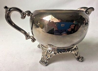 Vintage Silverplate Creamer Pitcher Footed Ornate Unmarked