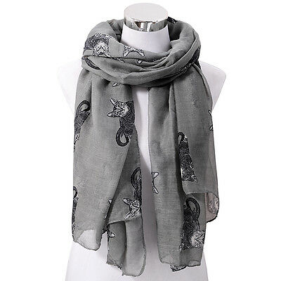 Womens Cute Cat Print Long Scarf Soft Voile Wrap Shawl Stole Neck Warm Scarves
