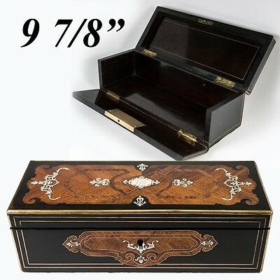 Napoleon III Antique French Kingwood Marquetry Jewelry Casket, Document Box
