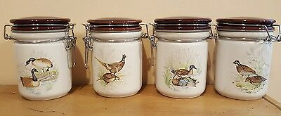 RARE Porcelain Locking  Jar  Set of 4 Birds Goose Pheasant Duck Quail VERY RARE