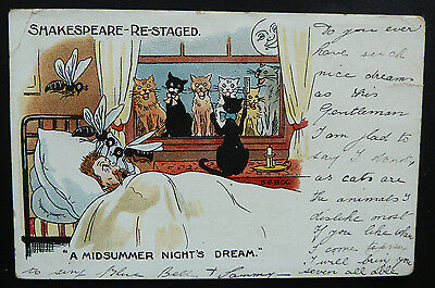 "Cat Postcard/Comic Shakespeare- Re-Staged ""A Midsummer Night's Dream Posted 1905"
