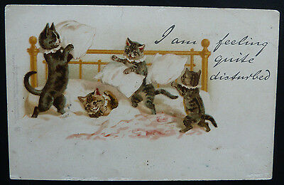 "Vintage Cat Postcard- Tucks ""Write Away"" Helena Maguire? Cats Pillow Fight"