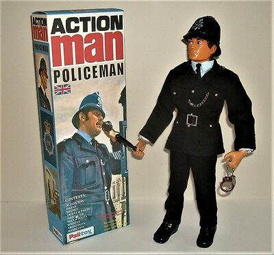 Vintage Action Man,  Policeman  Figure With Custom Box.