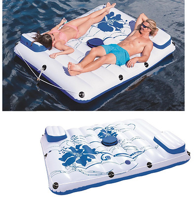 Inflatable Double Lounger Floating Island Pool Float Raft Water Summer Party NEW