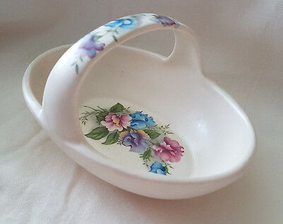 PURBECK GIFTS POOLE DORSET BASKET WITH FLORAL DESIGN MADE IN ENGLAND sweet pea