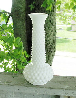 "Vintage E. O. Brody Co. Hobnail Milk Glass Bud Vase 7 1/2"" tall"