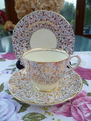 Vintage Royal Stafford China Trio Tea Cup Saucer Gilded  Chintz 8201 Yellow
