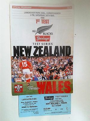 New Zealand v Wales 1988 1st test + ticket