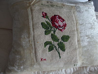 vintage Hand Stitched worked French tapestry cushion front picture