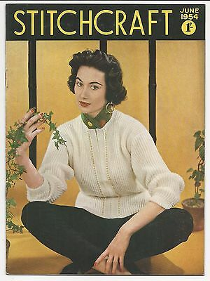 VINTAGE 1950s STITCHCRAFT MAGAZINE JUNE 1954 KNITTING PATTERNS Jumpers Lace Mat