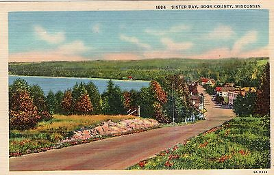 Antique Postcard Sister Bay Door County WI Wisconsin 1959 Town Scene
