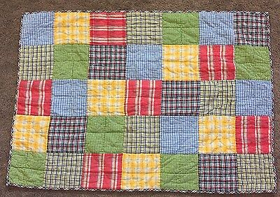 Land Of Nod Plaid Patchwork Crib Toddler Bed Quilt Blanket Blue Red Green Boy
