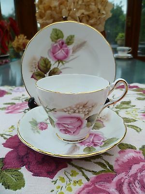 Lovely Royal Sutherland English China Trio Tea Cup Saucer Plate Pink Roses