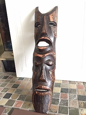 "Africa Wooden Double Mask Hand Carved 24"" Solid Totem"