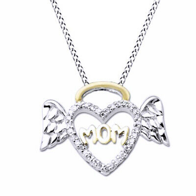 "1/10ct Diamond Halo Winged Heart ""Mom"" Pendant in Sterling Silver/ 14K Gold Over"