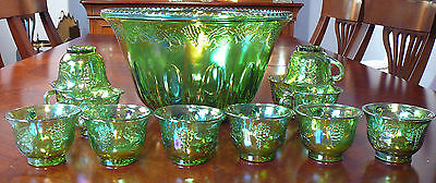 vtg INDIANA HARVEST GRAPE GREEN CARNIVAL GLASS PUNCH BOWL SET 12 cups