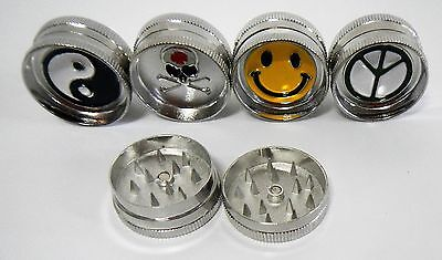 Mini Metal Magnetic Tobacco Herb Grinder Yin Yang Skull Peace Smiley Face QTY 4