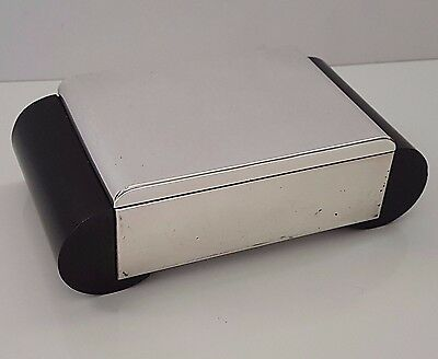 Stylish Vintage Art Deco Silver Plated Ebony Table Cigarette Box