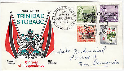 X7101 Trinidad & Tobago First day cover 5 year independence 1967 overprinted