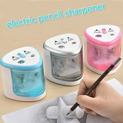 Automatic Two-hole Pencil Sharpener School Office Electric Sharpener Pink