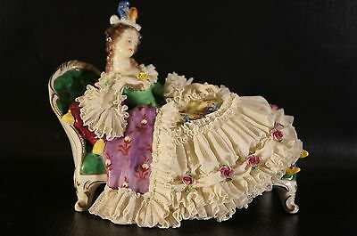Antique Dresden VOLKSTEDT Porcelain Figurine Lady sitting on Sofa.