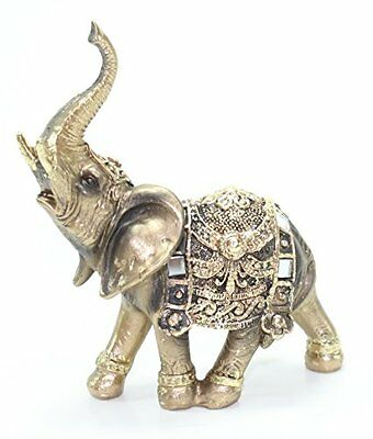 "Feng Shui 4.5""(H) Brass Color Elegant Elephant Trunk Statue Wealth Lucky..."