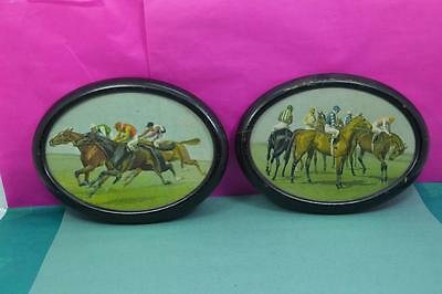 """2 Antique  Horse Racing prints oval ebony framed 8"""" x 5.1/4"""" as found"""