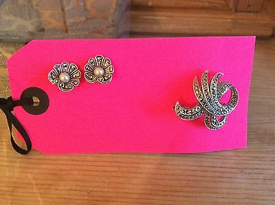Sphinx Marcasite Feather Brooch and Silver tone faux pearl clip Earrings !