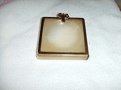 "VINTAGE  ONYX AND BRASS EFFECT ASHTRAY  4"" x 4"" SQUARE"